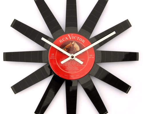 Vinyl Record Starburst Clock - A fantastic up-cycled clock made from a classic vintage record.