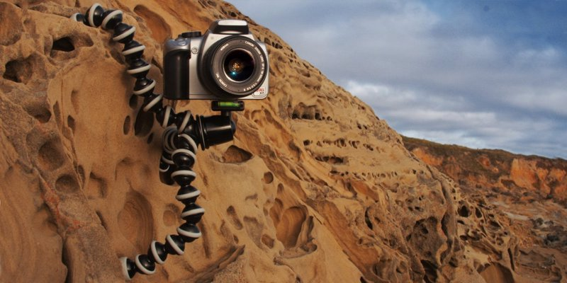 Gorilla Pod Phone and Camera Tripod - Attach your camera to trees, poles, rocks and get the most out of your shots on your travels