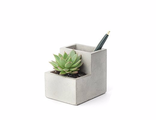 Concrete Planter And Pen Holder - Introduce some greenery to your desk with this minimalist planter and pen holder