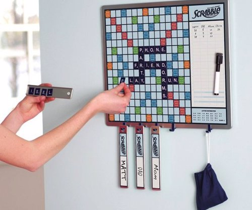 2-in-1 Scrabble Message Board - Hang this magnetic Scrabble and white board in your kitchen for a fun game for all the family